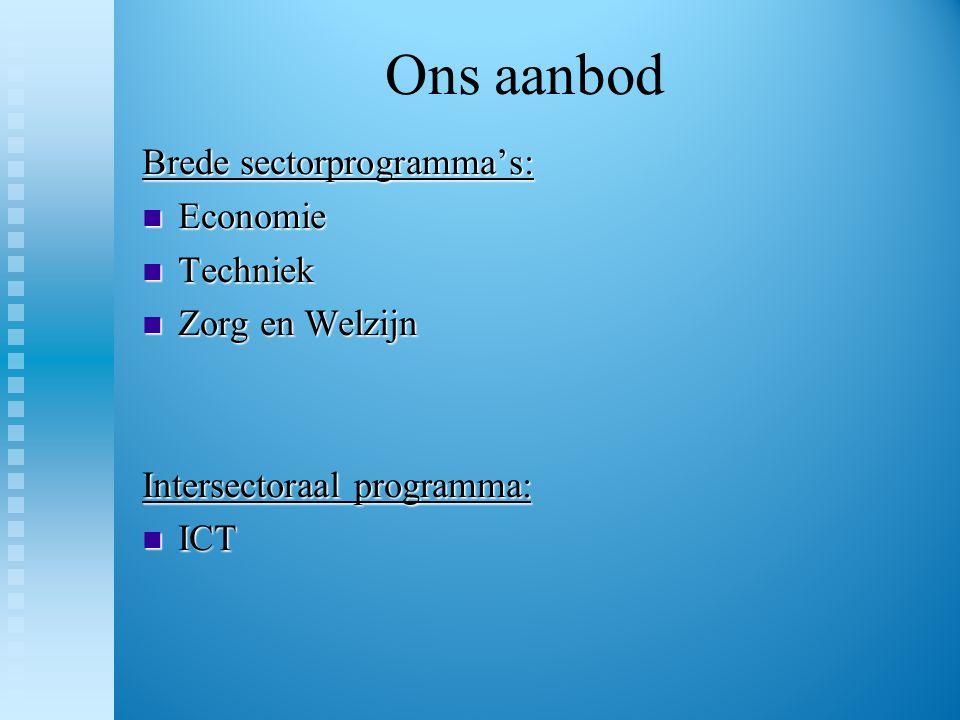 Ons aanbod Brede sectorprogramma's: Economie Techniek Zorg en Welzijn