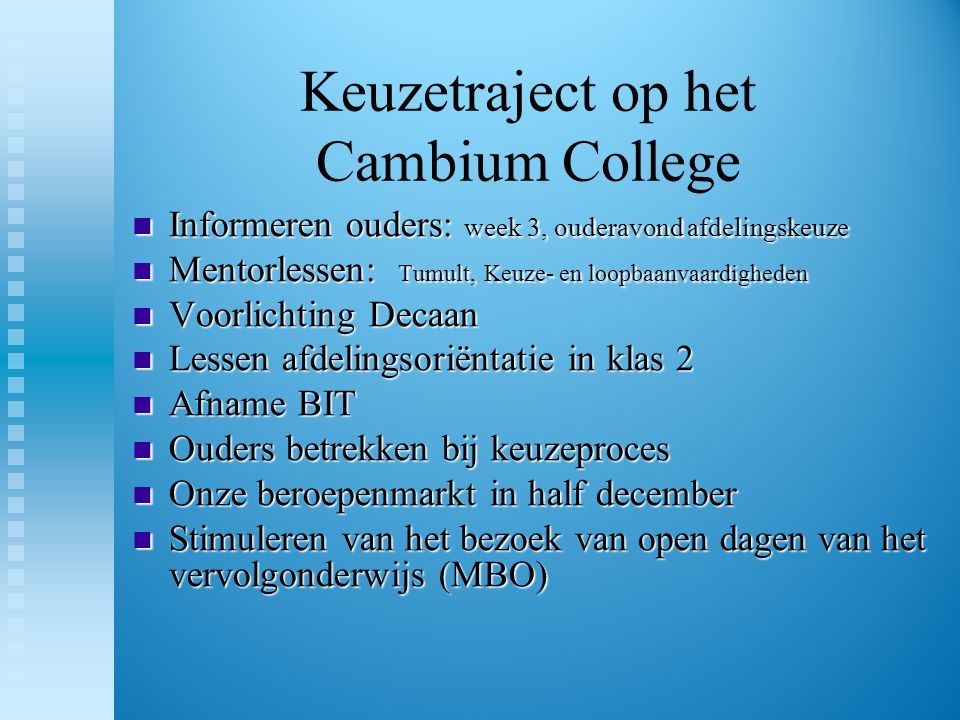 Keuzetraject op het Cambium College