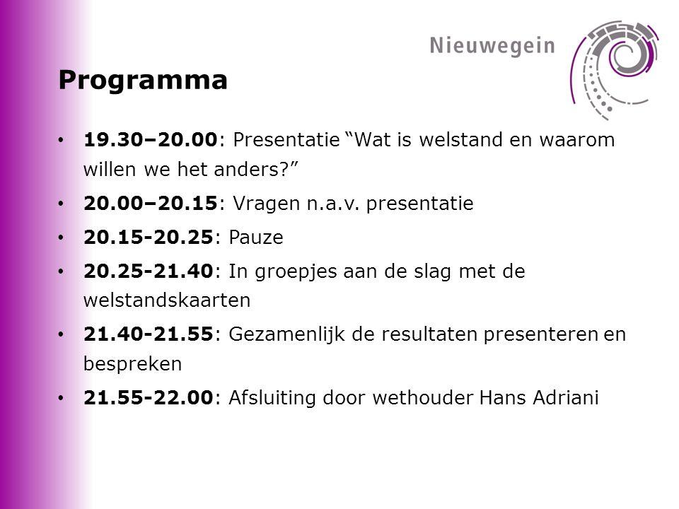 Programma 19.30–20.00: Presentatie Wat is welstand en waarom willen we het anders 20.00–20.15: Vragen n.a.v. presentatie.