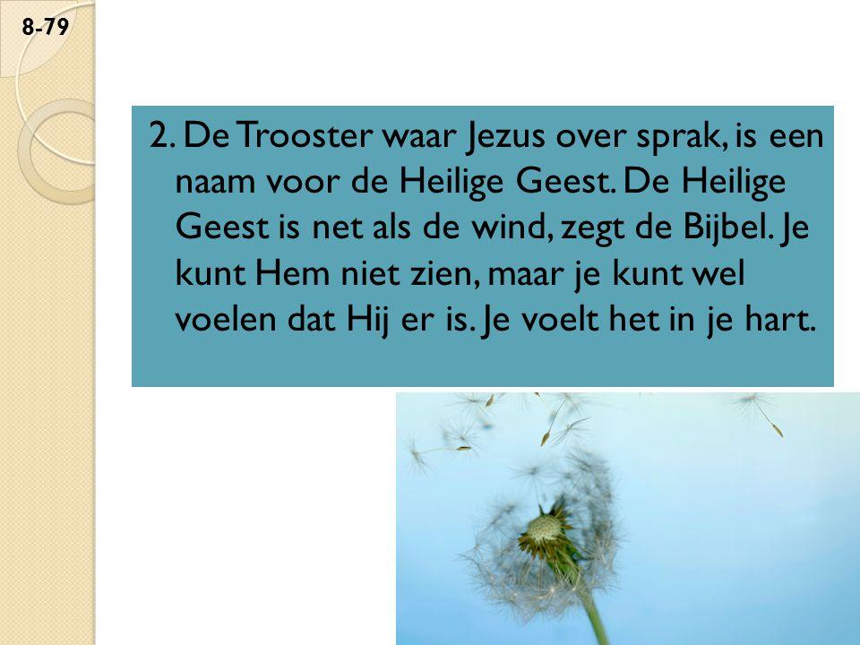 2. De Trooster waar Jezus over sprak, is een naam voor de Heilige Geest.