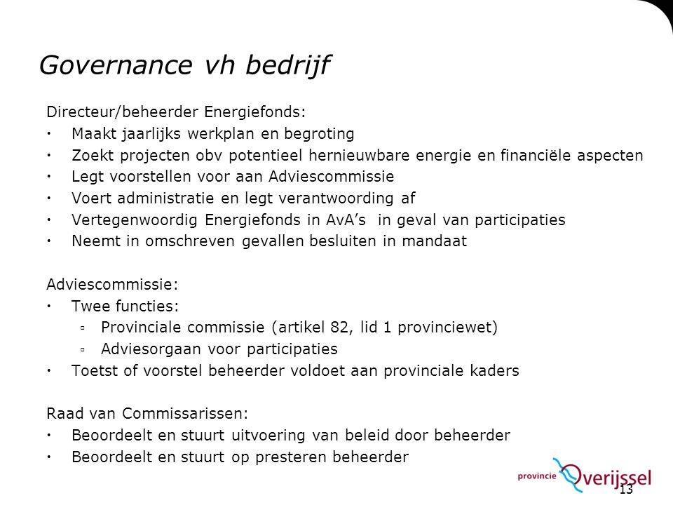 Governance vh bedrijf Directeur/beheerder Energiefonds: