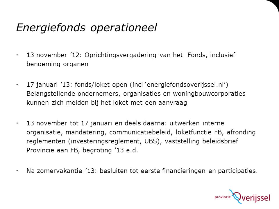 Energiefonds operationeel