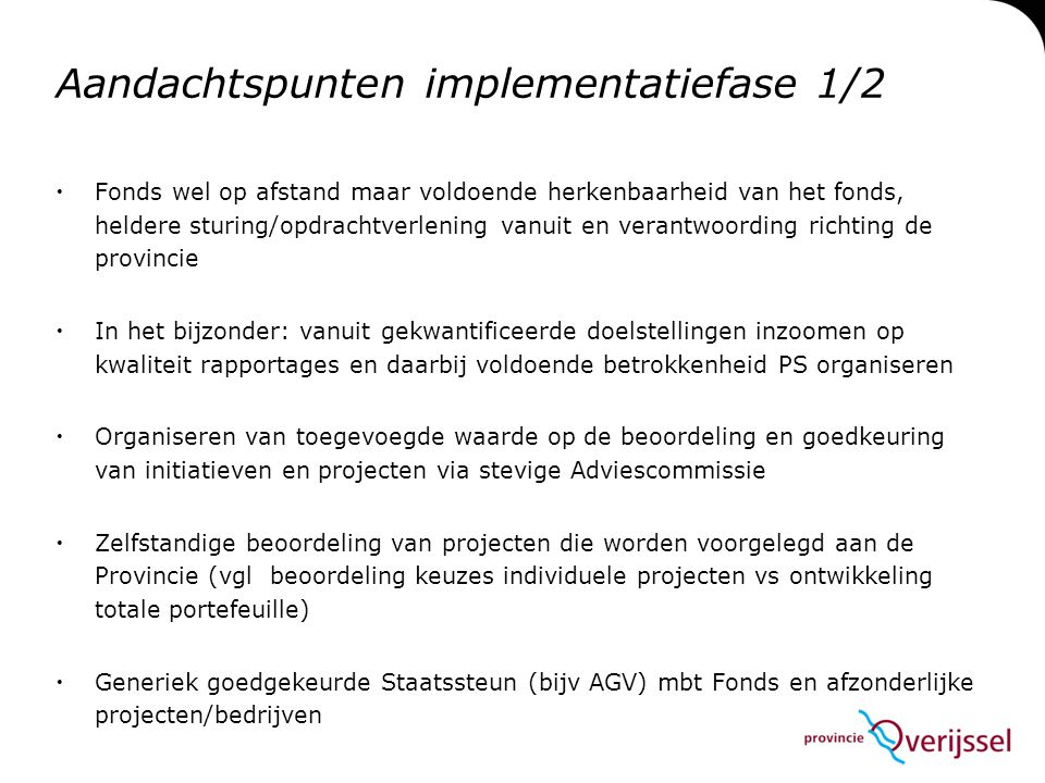 Aandachtspunten implementatiefase 1/2