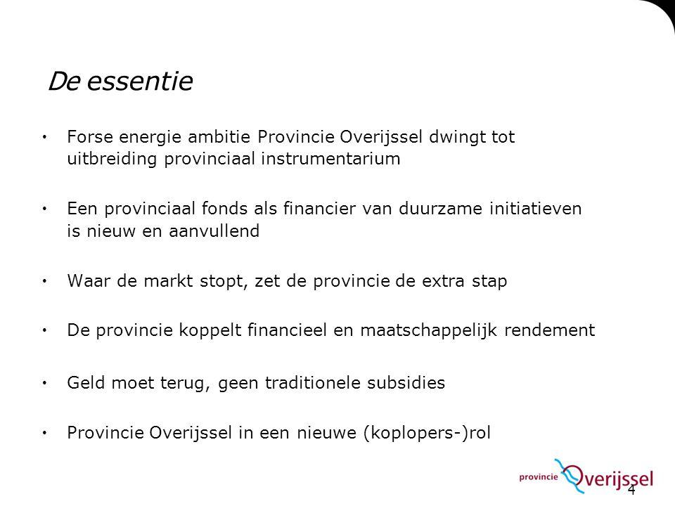 De essentie Forse energie ambitie Provincie Overijssel dwingt tot uitbreiding provinciaal instrumentarium.