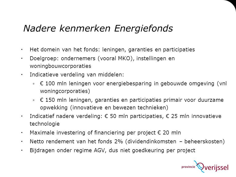 Nadere kenmerken Energiefonds