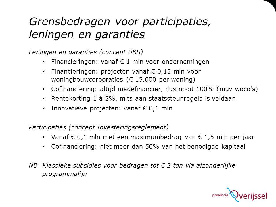 Grensbedragen voor participaties, leningen en garanties