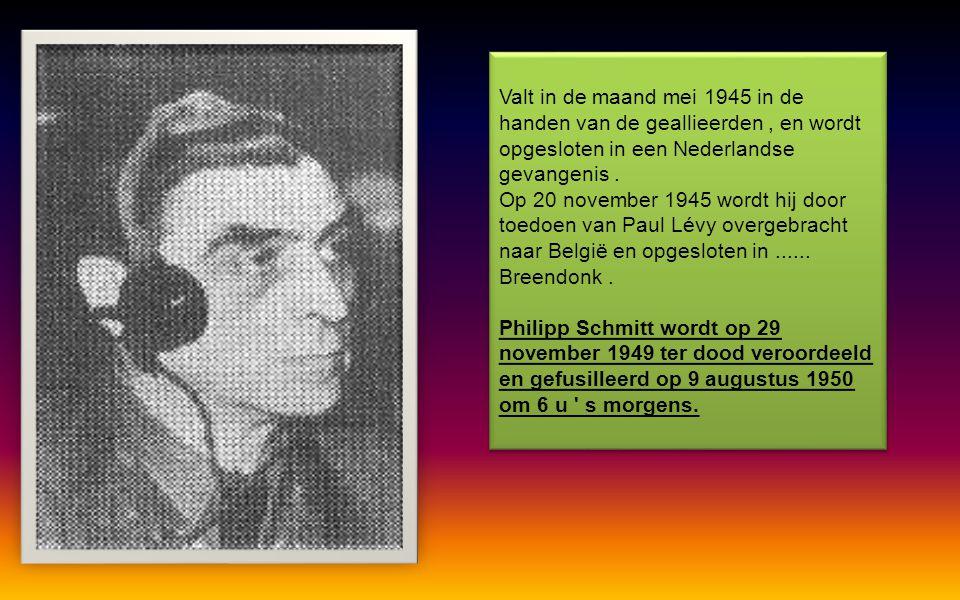 Valt in de maand mei 1945 in de handen van de geallieerden , en wordt opgesloten in een Nederlandse gevangenis .