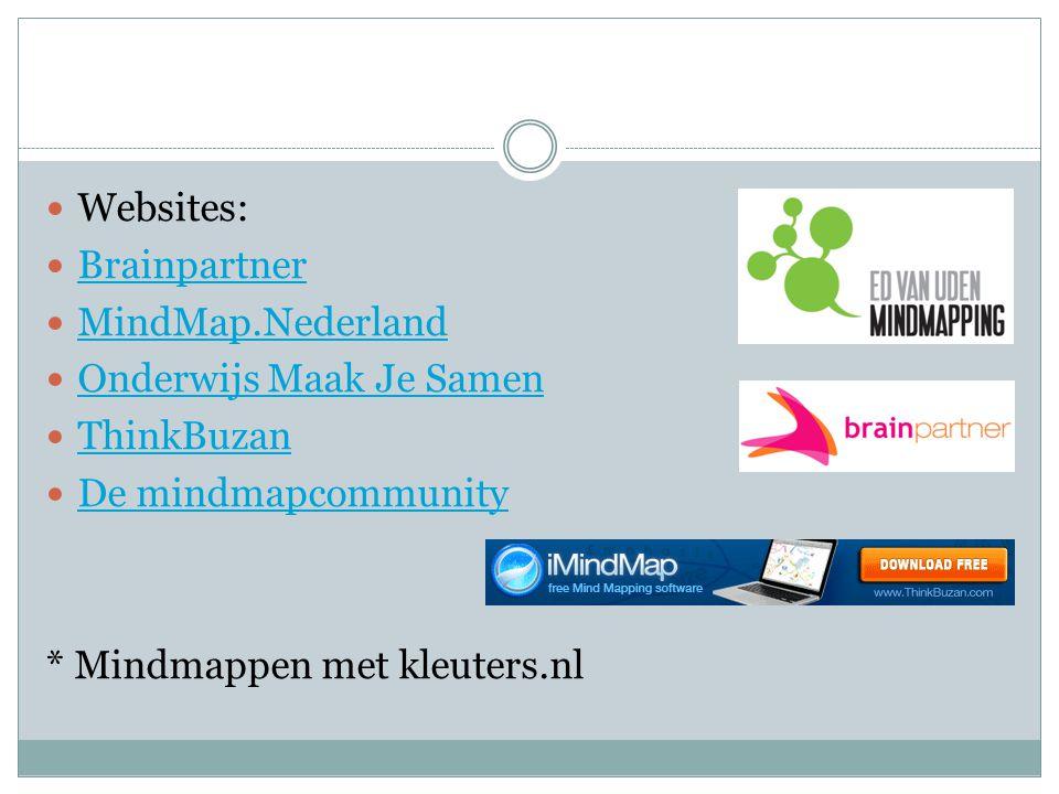 Websites: Brainpartner. MindMap.Nederland. Onderwijs Maak Je Samen. ThinkBuzan. De mindmapcommunity.