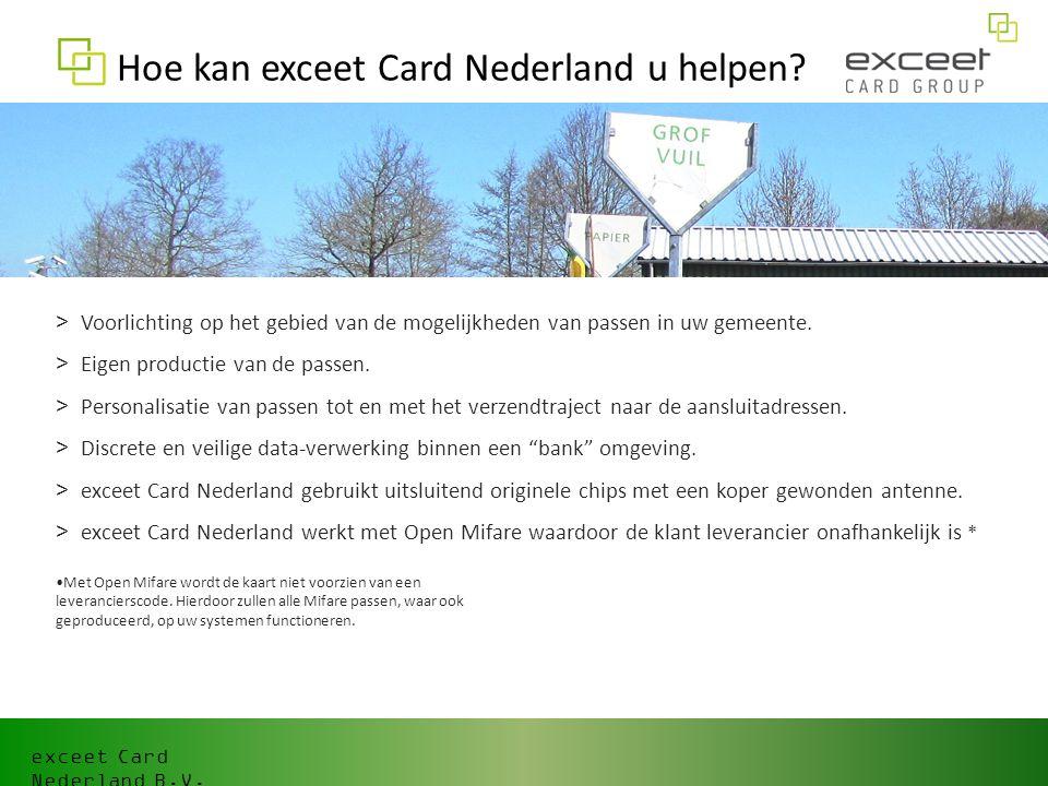 Hoe kan exceet Card Nederland u helpen