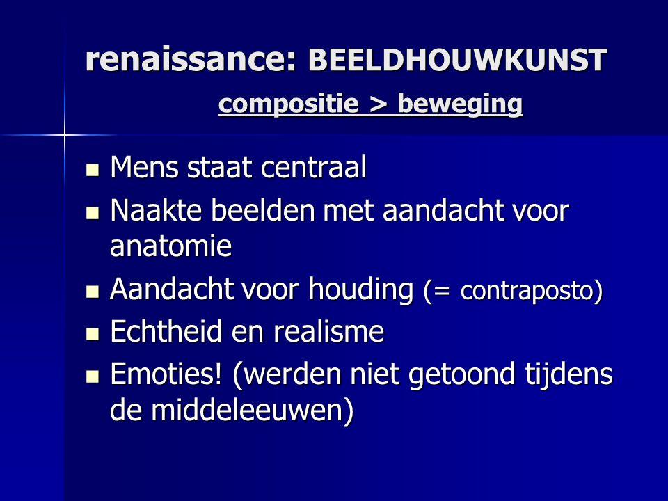 renaissance: BEELDHOUWKUNST compositie > beweging