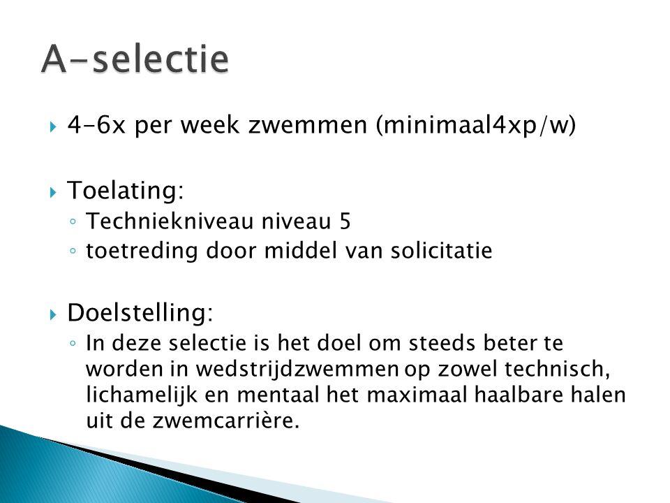 A-selectie 4-6x per week zwemmen (minimaal4xp/w) Toelating: