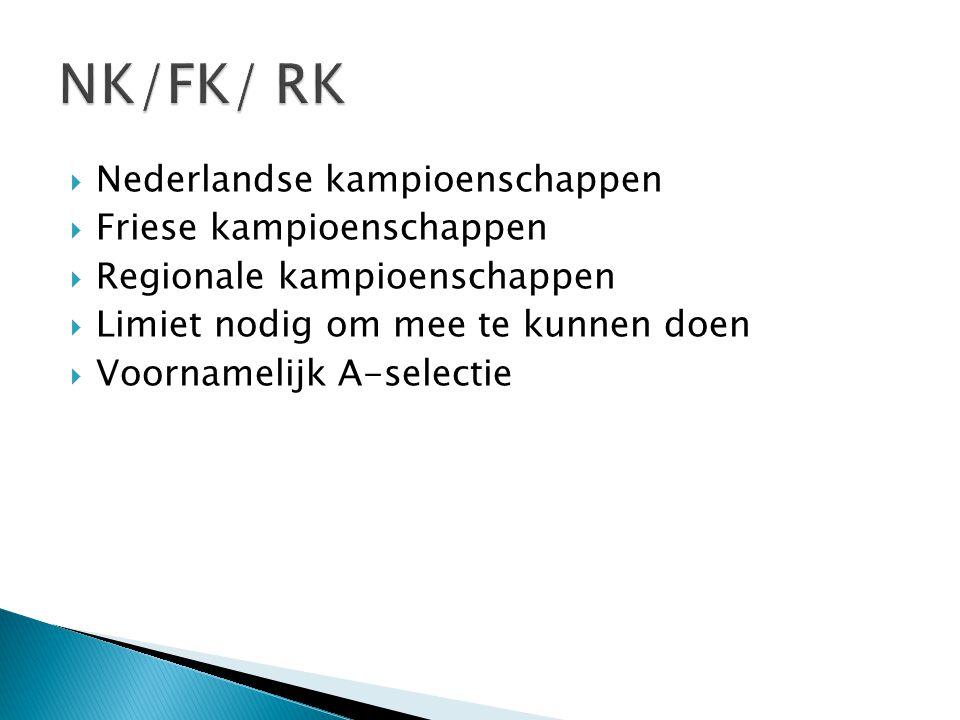 NK/FK/ RK Nederlandse kampioenschappen Friese kampioenschappen
