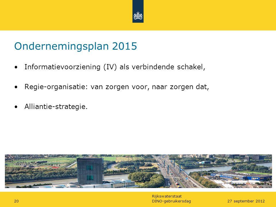 Ondernemingsplan 2015 Informatievoorziening (IV) als verbindende schakel, Regie-organisatie: van zorgen voor, naar zorgen dat,