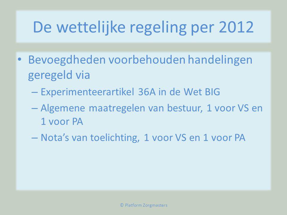 De wettelijke regeling per 2012
