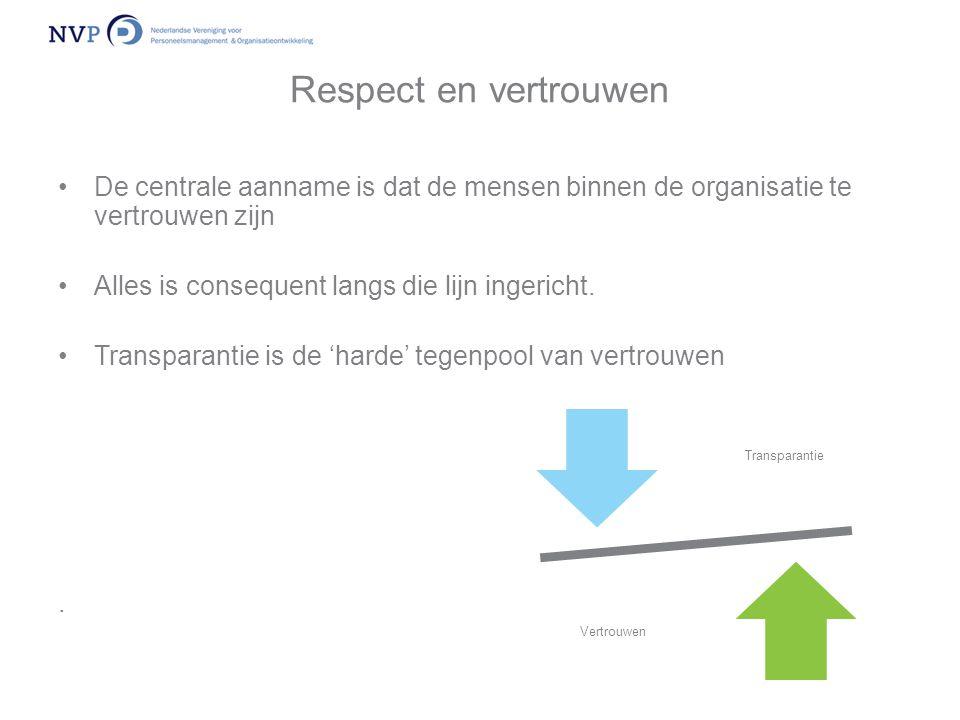 Respect en vertrouwen De centrale aanname is dat de mensen binnen de organisatie te vertrouwen zijn.