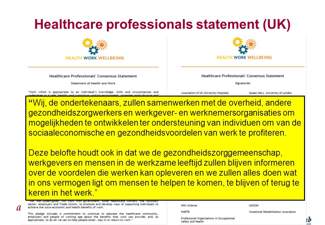 Healthcare professionals statement (UK)