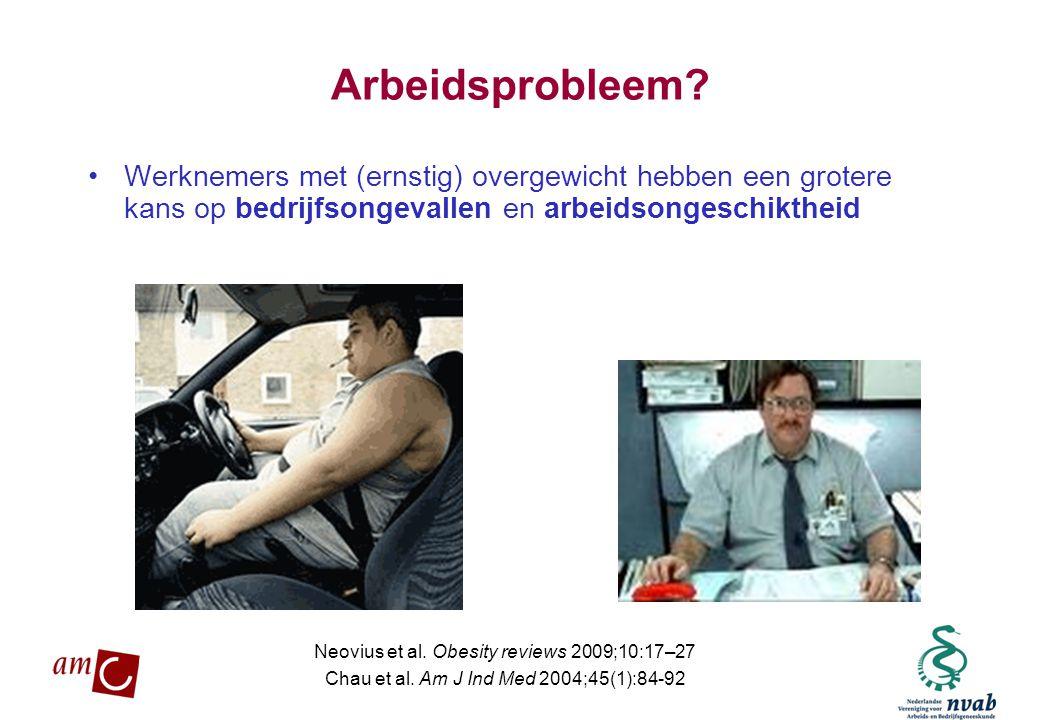 Arbeidsprobleem Werknemers met (ernstig) overgewicht hebben een grotere kans op bedrijfsongevallen en arbeidsongeschiktheid.