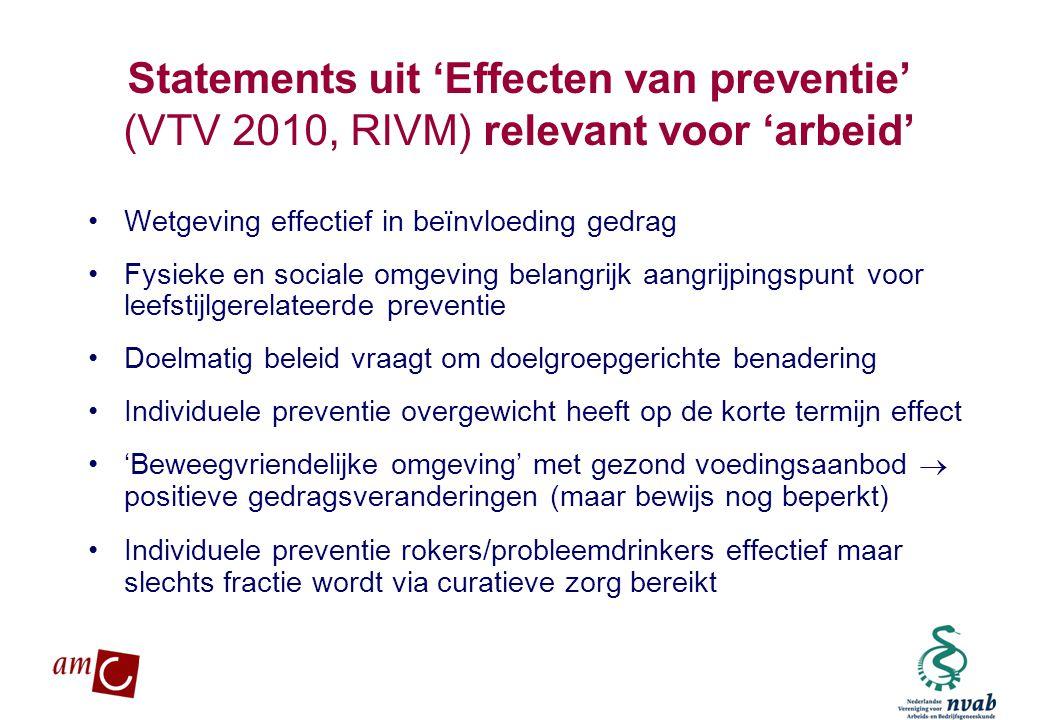 Statements uit 'Effecten van preventie' (VTV 2010, RIVM) relevant voor 'arbeid'