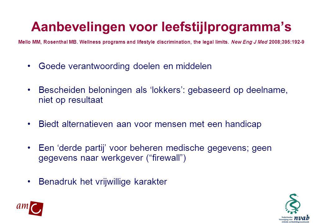 Aanbevelingen voor leefstijlprogramma's Mello MM, Rosenthal MB