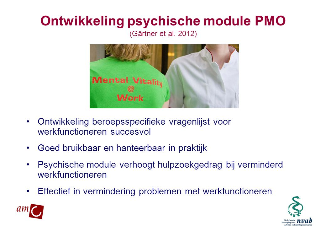 Ontwikkeling psychische module PMO (Gärtner et al. 2012)