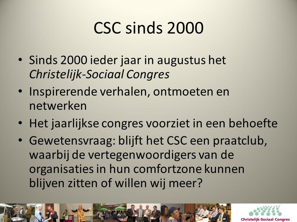 CSC sinds 2000 Sinds 2000 ieder jaar in augustus het Christelijk-Sociaal Congres. Inspirerende verhalen, ontmoeten en netwerken.