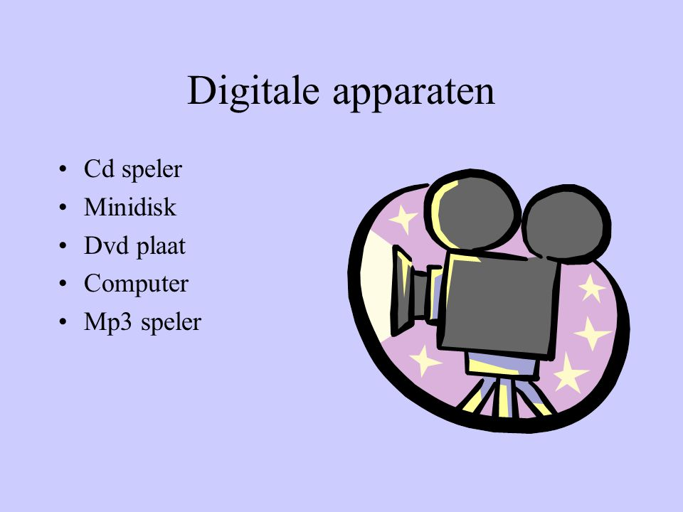 Digitale apparaten Cd speler Minidisk Dvd plaat Computer Mp3 speler