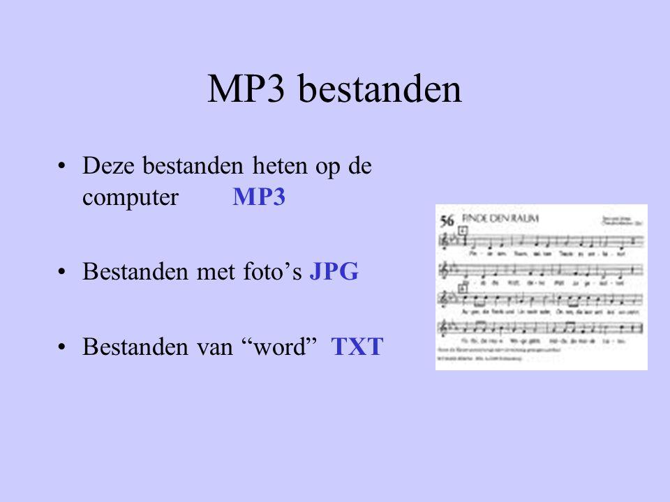 MP3 bestanden Deze bestanden heten op de computer MP3