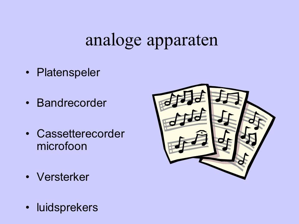 analoge apparaten Platenspeler Bandrecorder Cassetterecorder microfoon