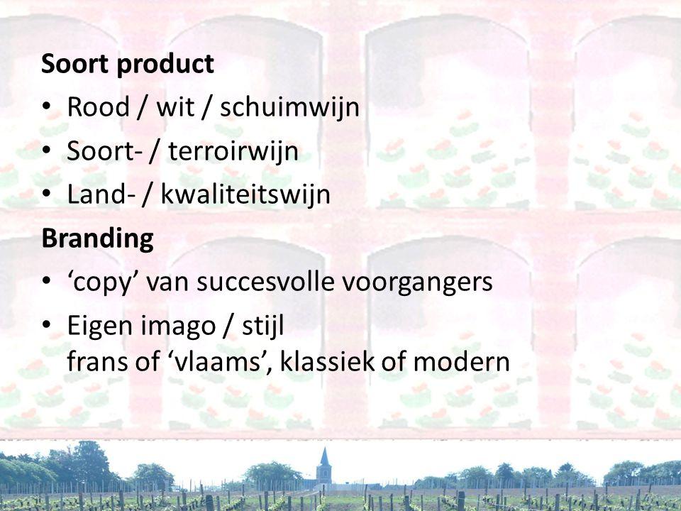 Soort product Rood / wit / schuimwijn. Soort- / terroirwijn. Land- / kwaliteitswijn. Branding. 'copy' van succesvolle voorgangers.
