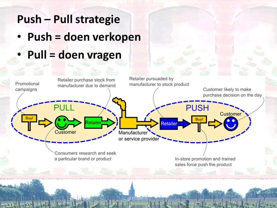 Push – Pull strategie Push = doen verkopen Pull = doen vragen