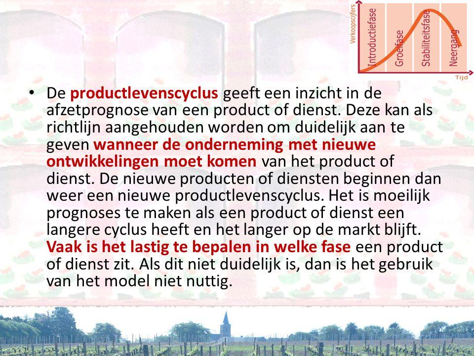 De productlevenscyclus geeft een inzicht in de afzetprognose van een product of dienst.