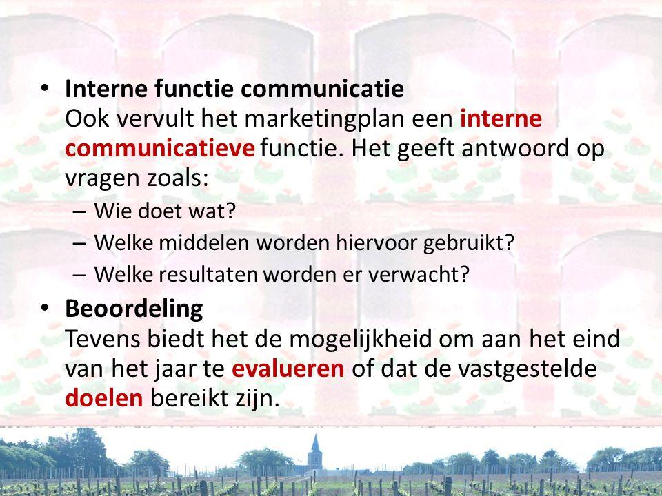 Interne functie communicatie Ook vervult het marketingplan een interne communicatieve functie. Het geeft antwoord op vragen zoals:
