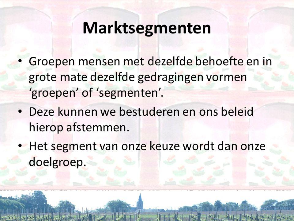 Marktsegmenten Groepen mensen met dezelfde behoefte en in grote mate dezelfde gedragingen vormen 'groepen' of 'segmenten'.