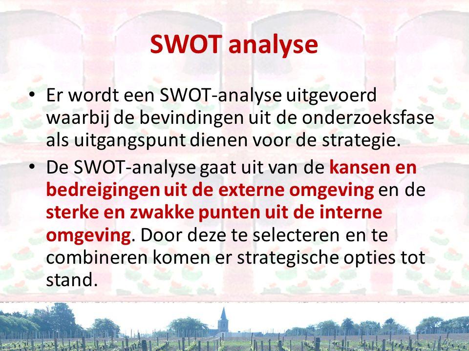 SWOT analyse Er wordt een SWOT-analyse uitgevoerd waarbij de bevindingen uit de onderzoeksfase als uitgangspunt dienen voor de strategie.