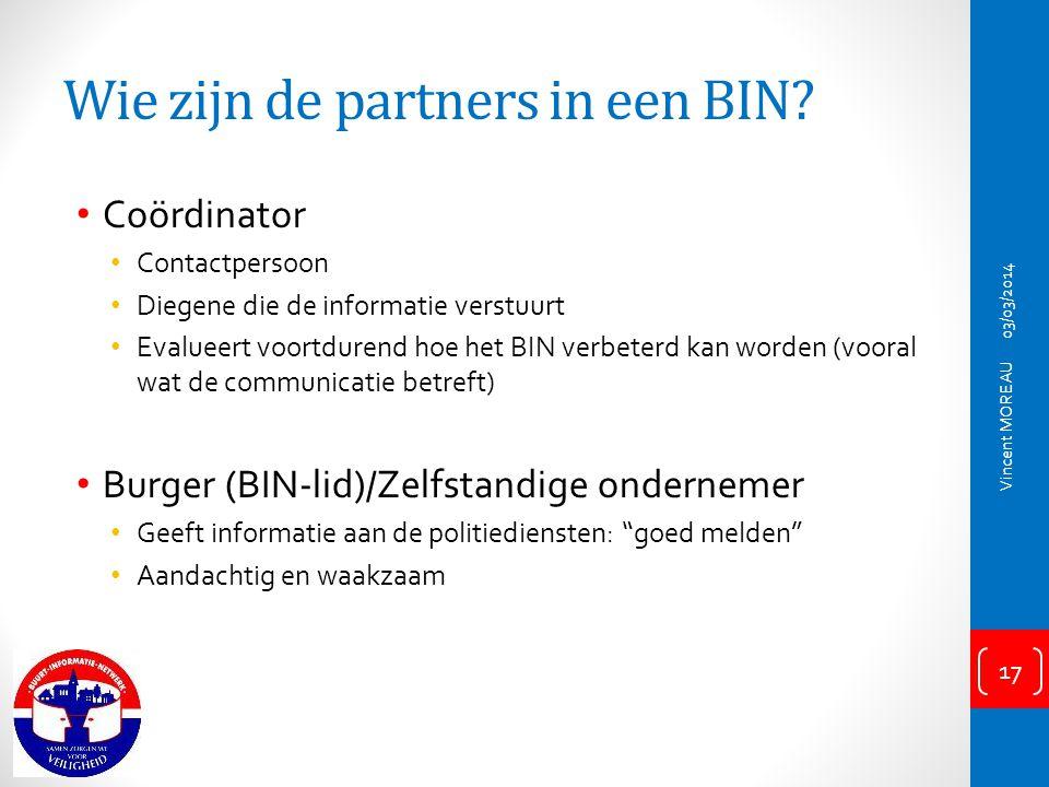 Wie zijn de partners in een BIN