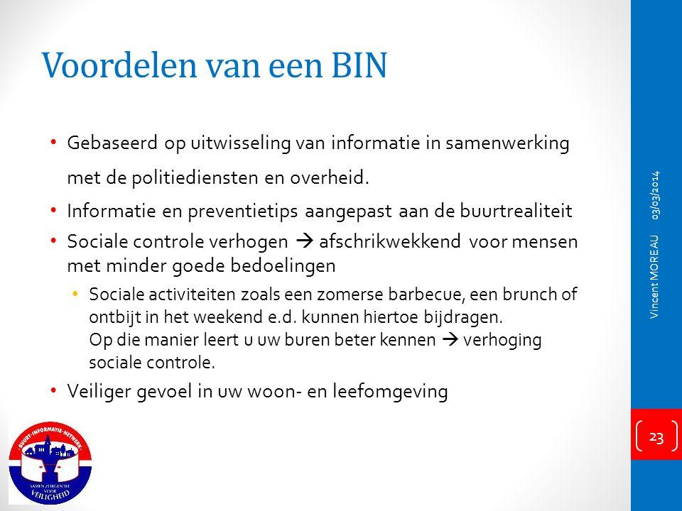 Voordelen van een BIN Gebaseerd op uitwisseling van informatie in samenwerking met de politiediensten en overheid.