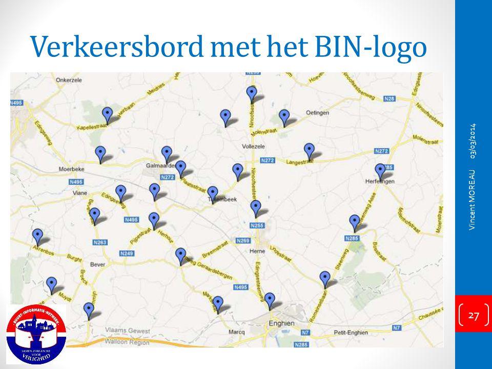 Verkeersbord met het BIN-logo