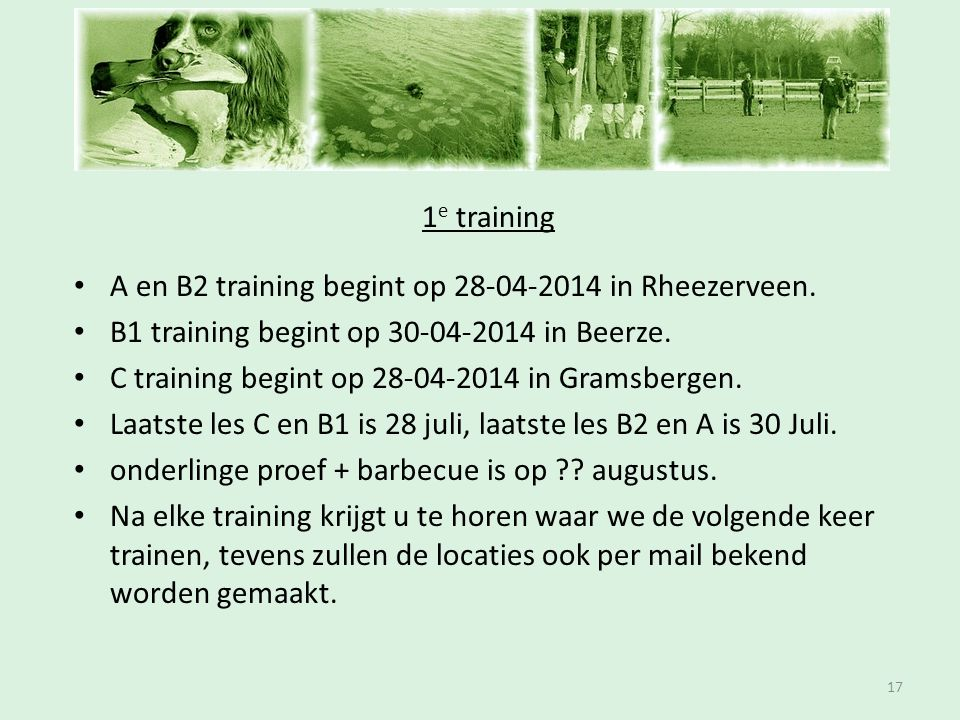 Inschrijfavond 1e training