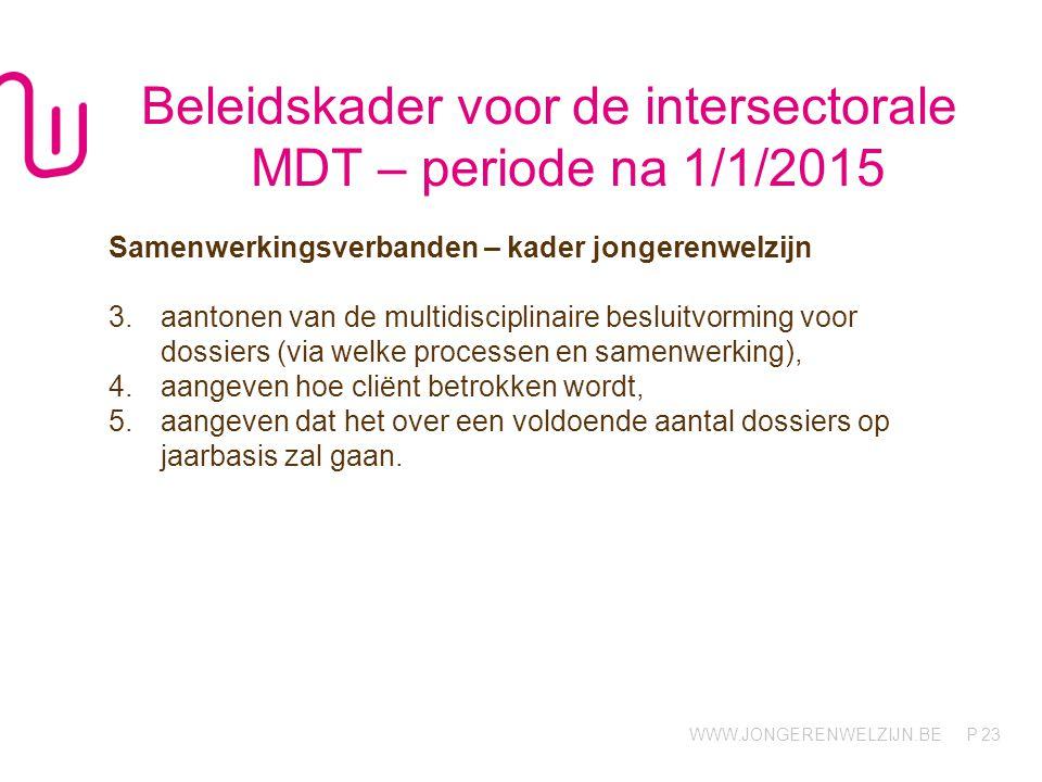 Beleidskader voor de intersectorale MDT – periode na 1/1/2015
