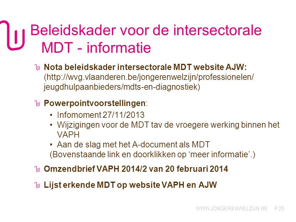 Beleidskader voor de intersectorale MDT - informatie