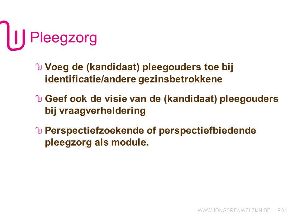 Pleegzorg Voeg de (kandidaat) pleegouders toe bij identificatie/andere gezinsbetrokkene.