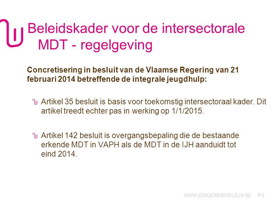 Beleidskader voor de intersectorale MDT - regelgeving