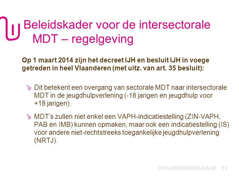Beleidskader voor de intersectorale MDT – regelgeving