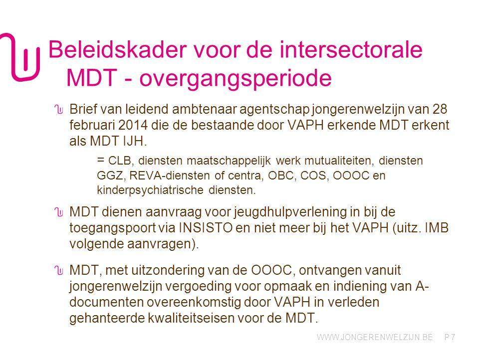 Beleidskader voor de intersectorale MDT - overgangsperiode