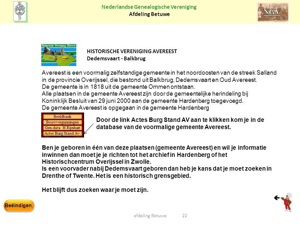 HISTORISCHE VERENIGING AVEREEST Dedemsvaart - Balkbrug