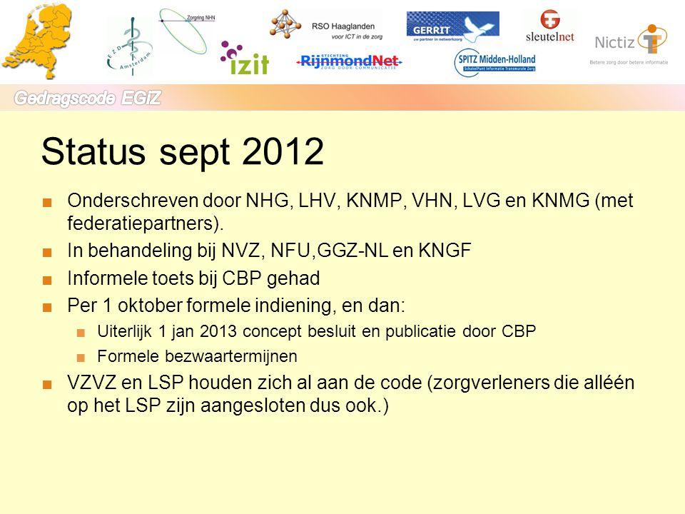 Status sept 2012 Onderschreven door NHG, LHV, KNMP, VHN, LVG en KNMG (met federatiepartners). In behandeling bij NVZ, NFU,GGZ-NL en KNGF.