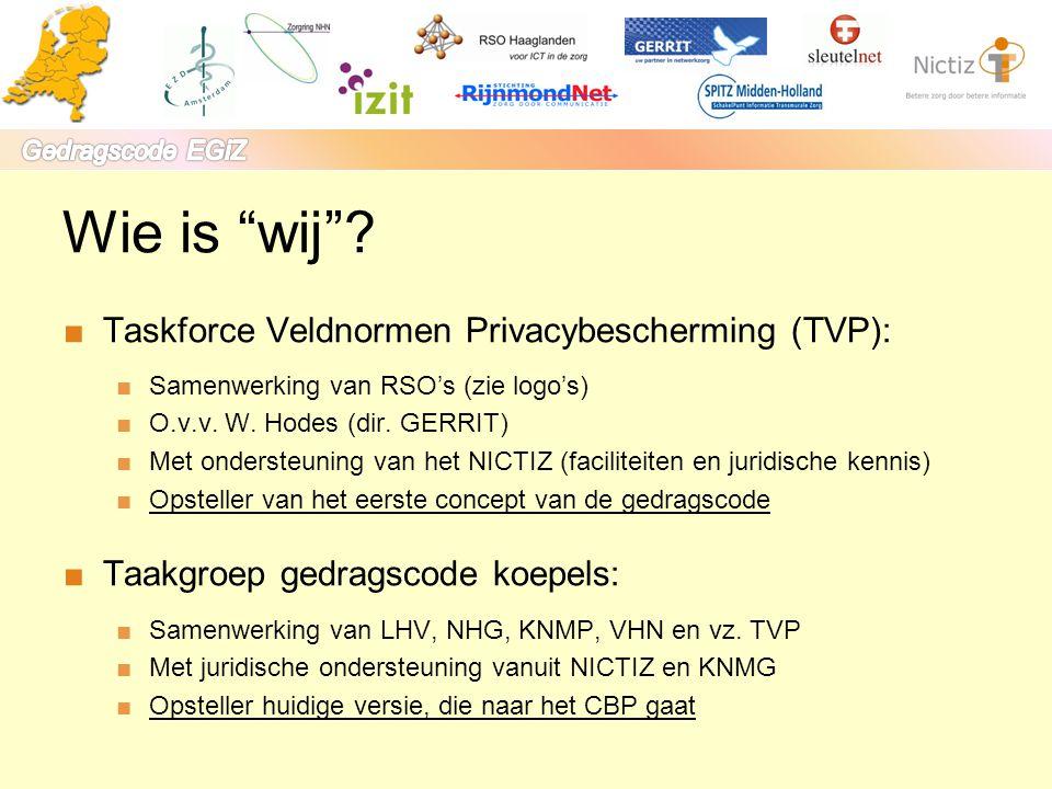 Wie is wij Taskforce Veldnormen Privacybescherming (TVP):