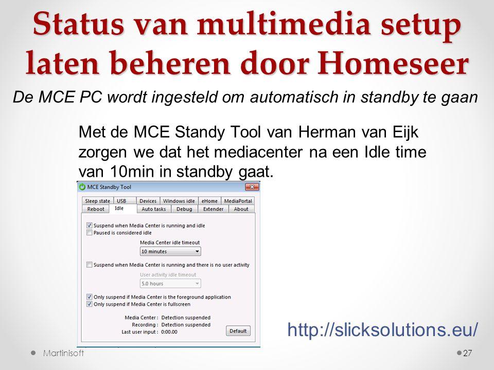 Status van multimedia setup laten beheren door Homeseer