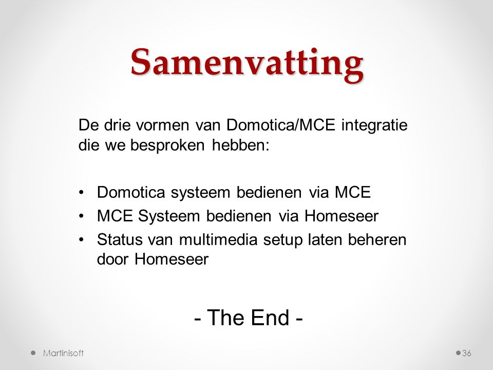 Samenvatting - The End -