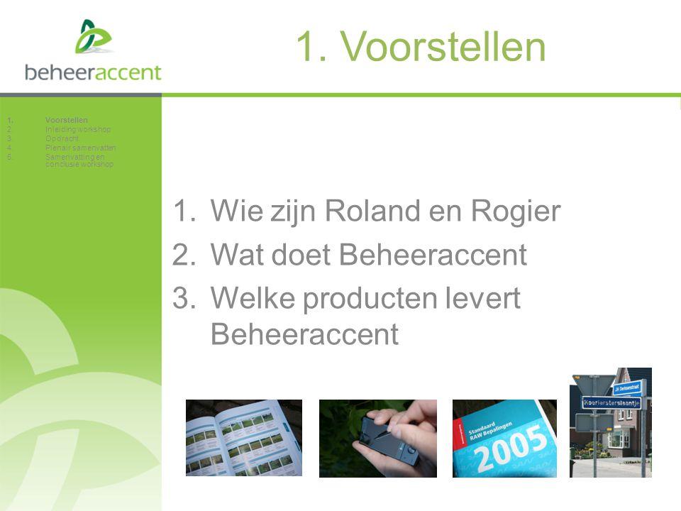 1. Voorstellen Wie zijn Roland en Rogier Wat doet Beheeraccent